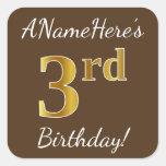 [ Thumbnail: Brown, Faux Gold 3rd Birthday + Custom Name Sticker ]