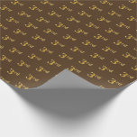 [ Thumbnail: Brown, Faux Gold 3rd (Third) Event Wrapping Paper ]