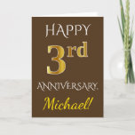 [ Thumbnail: Brown, Faux Gold 3rd Wedding Anniversary + Name Card ]