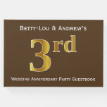 [ Thumbnail: Brown, Faux Gold 3rd Wedding Anniversary Party Guest Book ]