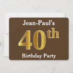[ Thumbnail: Brown, Faux Gold 40th Birthday Party; Custom Name Invitation ]