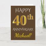 [ Thumbnail: Brown, Faux Gold 40th Wedding Anniversary + Name Card ]
