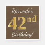 [ Thumbnail: Brown, Faux Gold 42nd Birthday + Custom Name Napkin ]
