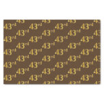[ Thumbnail: Brown, Faux Gold 43rd (Forty-Third) Event Tissue Paper ]