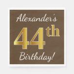 [ Thumbnail: Brown, Faux Gold 44th Birthday + Custom Name Napkin ]