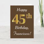 [ Thumbnail: Brown, Faux Gold 45th Birthday + Custom Name Card ]