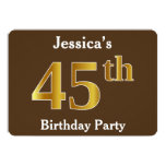 [ Thumbnail: Brown, Faux Gold 45th Birthday Party; Custom Name Invitation ]