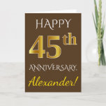 [ Thumbnail: Brown, Faux Gold 45th Wedding Anniversary + Name Card ]