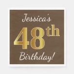 [ Thumbnail: Brown, Faux Gold 48th Birthday + Custom Name Napkin ]