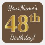 [ Thumbnail: Brown, Faux Gold 48th Birthday + Custom Name Sticker ]