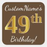 [ Thumbnail: Brown, Faux Gold 49th Birthday + Custom Name Sticker ]