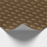 [ Thumbnail: Brown, Faux Gold 4th (Fourth) Event Wrapping Paper ]