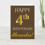 [ Thumbnail: Brown, Faux Gold 4th Wedding Anniversary + Name Card ]