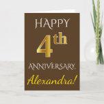 [ Thumbnail: Brown, Faux Gold 4th Wedding Anniversary + Name Card ]