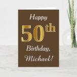 [ Thumbnail: Brown, Faux Gold 50th Birthday + Custom Name Card ]