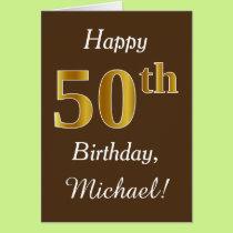 Brown, Faux Gold 50th Birthday   Custom Name Card