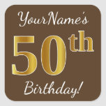 [ Thumbnail: Brown, Faux Gold 50th Birthday + Custom Name Sticker ]
