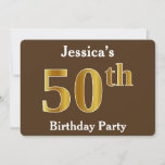[ Thumbnail: Brown, Faux Gold 50th Birthday Party; Custom Name Invitation ]