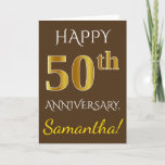 [ Thumbnail: Brown, Faux Gold 50th Wedding Anniversary + Name Card ]