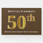 [ Thumbnail: Brown, Faux Gold 50th Wedding Anniversary Party Guest Book ]