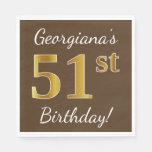 [ Thumbnail: Brown, Faux Gold 51st Birthday + Custom Name Napkin ]