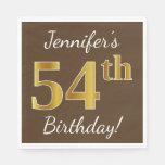[ Thumbnail: Brown, Faux Gold 54th Birthday + Custom Name Napkin ]