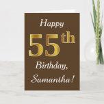 [ Thumbnail: Brown, Faux Gold 55th Birthday + Custom Name Card ]