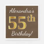 [ Thumbnail: Brown, Faux Gold 55th Birthday + Custom Name Paper Napkin ]