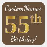 [ Thumbnail: Brown, Faux Gold 55th Birthday + Custom Name Sticker ]