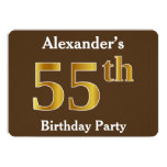 [ Thumbnail: Brown, Faux Gold 55th Birthday Party; Custom Name Invitation ]