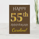 [ Thumbnail: Brown, Faux Gold 55th Wedding Anniversary + Name Card ]