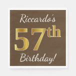 [ Thumbnail: Brown, Faux Gold 57th Birthday + Custom Name Napkin ]