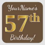 [ Thumbnail: Brown, Faux Gold 57th Birthday + Custom Name Sticker ]