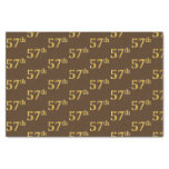 [ Thumbnail: Brown, Faux Gold 57th (Fifty-Seventh) Event Tissue Paper ]
