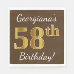 [ Thumbnail: Brown, Faux Gold 58th Birthday + Custom Name Napkin ]