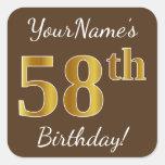 [ Thumbnail: Brown, Faux Gold 58th Birthday + Custom Name Sticker ]