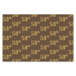 [ Thumbnail: Brown, Faux Gold 58th (Fifty-Eighth) Event Tissue Paper ]