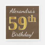 [ Thumbnail: Brown, Faux Gold 59th Birthday + Custom Name Napkin ]