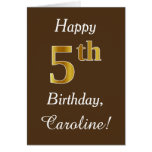 [ Thumbnail: Brown, Faux Gold 5th Birthday + Custom Name ]