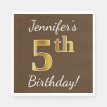 [ Thumbnail: Brown, Faux Gold 5th Birthday + Custom Name Paper Napkin ]