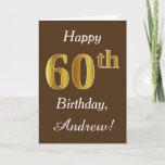 [ Thumbnail: Brown, Faux Gold 60th Birthday + Custom Name Card ]
