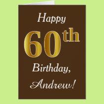 Brown, Faux Gold 60th Birthday   Custom Name Card