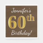 [ Thumbnail: Brown, Faux Gold 60th Birthday + Custom Name Paper Napkin ]