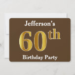 [ Thumbnail: Brown, Faux Gold 60th Birthday Party; Custom Name Invitation ]