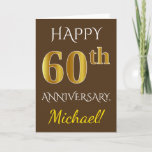 [ Thumbnail: Brown, Faux Gold 60th Wedding Anniversary + Name Card ]