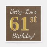 [ Thumbnail: Brown, Faux Gold 61st Birthday + Custom Name Napkin ]