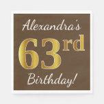 [ Thumbnail: Brown, Faux Gold 63rd Birthday + Custom Name Napkin ]