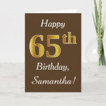 [ Thumbnail: Brown, Faux Gold 65th Birthday + Custom Name Card ]