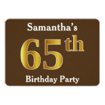 [ Thumbnail: Brown, Faux Gold 65th Birthday Party; Custom Name Invitation ]
