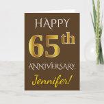 [ Thumbnail: Brown, Faux Gold 65th Wedding Anniversary + Name Card ]